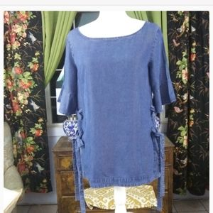 Ann Taylor Chambray Side Lace up Blouse Sz S